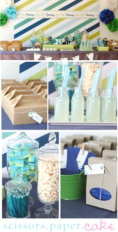 I love parties, quiet ones, noisy ones, and especially pretty ones that inspire. This party (found on Imprintables) was designed for Easter, but I am certain that you will agree it will be perfect for any little boy, baby shower, or even a little girl who loves the freshness of blues and greens.