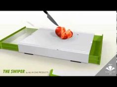 """All-In-1 Product's premier product, the """"Swiper"""" cutting board was created to make cooking and cleaning, faster and easier. Preparing foods using a standard cutting board traditionally means running to the trash several times to discard unused foods and debris followed by rinsing the cutting board and dripping water on the floor and counter. The Swiper, All-In-1 ends this routine."""