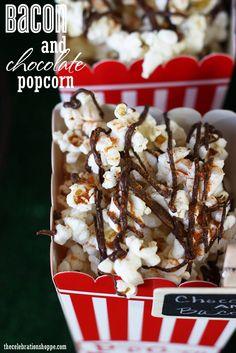 Bacon and Chocolate Popcorn Recipe with thecelebrationshoppe.com #movienight #SuperBowl #popcornrecipes