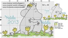 "Photo from album ""Schemi - Natalia/ Схемы - Natalia"" on Yandex. Vintage Embroidery, Diy Embroidery, Cross Stitch Embroidery, Embroidery Designs, Knitting Charts, Knitting Patterns, Cross Stitch Designs, Cross Stitch Patterns, Les Moomins"