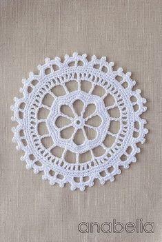Crochet lace motif nr 4 by Anabelia Crochet Circles, Crochet Blocks, Crochet Chart, Crochet Squares, Crochet Motif, Crochet Doilies, Crochet Flowers, Crochet Patterns, Crochet Home
