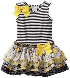 Gerson & Gerson Little Girls' Sparkle Tier Dress, Black, . Little Dresses, Little Girl Dresses, Cute Dresses, Girls Dresses, Toddler Dress, Toddler Outfits, Kids Outfits, Infant Toddler, Toddler Girls