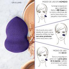 #OriTip: Si la vas a usar en húmedo, sumerge la esponja en agua y exprímela. Aplica la base en tu rostro y difumínala (del centro hacia afuera) y haciendo pequeños movimientos. Si la vas a usar en seco, toma tu maquillaje en polvo con la parte plana de la esponja y aplícalo en el rostro con suaves movimientos. *Extra tip: Usa la punta para cubrir detalles y zonas de cobertura difícil (nariz, boca y ojos).