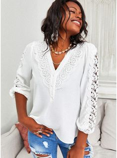 JJsHouse Regular Cotton Blends Lace V-Neck Lace Solid Fitted  3/4 Sleeves Button Up Elegant Blouses White Button Skinny Blouses. #JJsHouse #Regular #CottonBlends #Lace #VNeck #Lace #Solid #Fitted #34Sleeves #ButtonUp #Elegant #Blouses #White #Button #Skinny #Blouses V Neck Blouse, Geneva, Button Up, Blouses, Skinny, Sewing, Elegant, Lace, Fitness