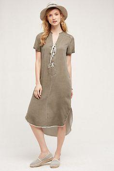 Lace-Up Silk Tunic Dress #anthropologie shirt restyle - necktie as yoke/collar?