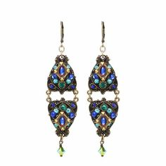 Glam statement earrings. Swarovski crystals and European glass in 24K gold-plated setting. Handmade at Michal Golan studios in NYC.