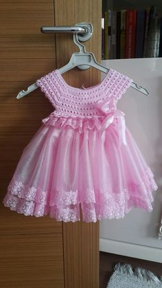 Crochet baby cardigan girl children 36 New ideas Crochet Tutu, Pull Crochet, Bonnet Crochet, Crochet Dress Girl, Crochet Girls, Crochet Baby Clothes, Crochet For Kids, Knit Dress, Crochet Dresses