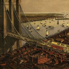 Brooklyn Bridge by Currier and Ives (1885)