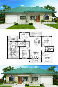 One storey Bungalow House with 3 bedrooms House Plans Mansion, Sims House Plans, House Layout Plans, Family House Plans, New House Plans, House Layouts, Dream House Plans, Small Modern House Plans, Beautiful House Plans