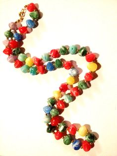 Vintage - Colorful Beaded Necklace - Bright Rock Style Beads with Clasp on Etsy, $12.00