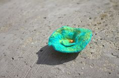 Turquoise Brooch Wool Felted Beads Czech Unique Accessories