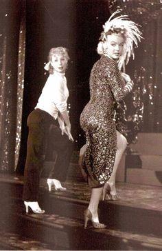 "Gwen Verdon & Marilyn Monroe on the set of ""Gentlemen Prefer Blondes""."