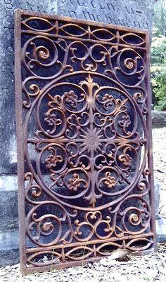 GRATE #1 FABULOUS NEW ORLEANS VICTORIAN FLOOR DOOR MAT ARCHITECTURAL IRON GATE