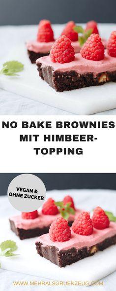 Vegan und ohne Backen: No bake Brownies mit Himbeer-Topping kommen direkt aus dem Kühlschrank, werden ohne Haushaltszucker gemacht und sind wunderbar einfach, gesund und lecker.