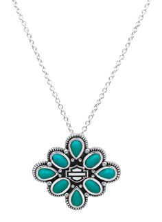 Harley-Davidson® Women's Freedom Flower Turquoise Necklace HDN0238