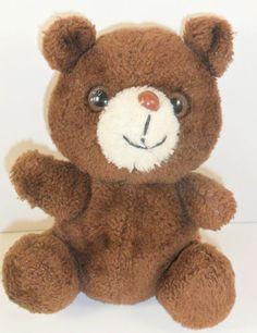 "VTG Brown Bear Plush Stuffed Animal 8"" White Muzzle"