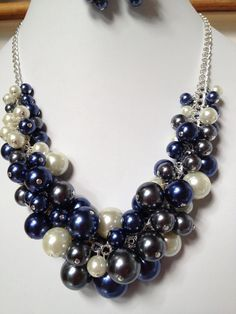 Pearl Cluster Necklace in Navy/ Dark Gray /White- Choker, Necklace, Wedding, Bridal, Bridesmaid, Prom, Hand Crafted, Party Pearls, SRAJD