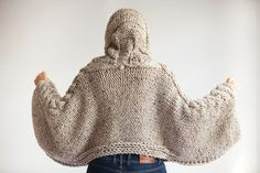 Plus Size Knitting Sweater Capalet with Hoodie Over Size by afra # beige cable knit sweater Tweed Beige Angel Sweater Capalet with Hoodie - Over Size Plus Size Tweed Beige Cable Knit by Afra Pull Crochet, Mode Crochet, Hand Crochet, Hand Knitting, Knit Crochet, Knitted Poncho, Knitted Hats, Tweed, Beige Pullover