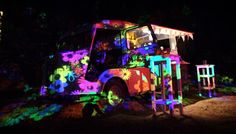 cool pscychedelic hippie fiesta at a secret place in ibiza . fantastic light installations , flying jellyfish, flower shower, and great sixties  music to dance the night away. Ibiza Love Truck - the islands unique event mobile.
