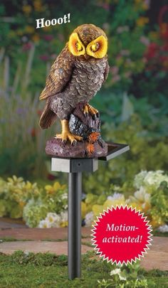 Hooting Brown Motion-Activated Owl Solar Garden Stake with Yellow Eyes Lights Up #GardenStake #MotionActivated #MMotionSensor #SolarPowered #Owl #Garden #Yard #Lawn #YardStake #Stake