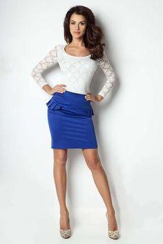 Blue Bodycon Fit Peplum Skirt