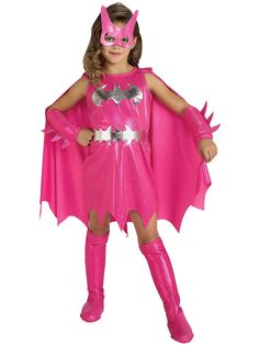 Is your girl ready to take on crime in Gotham? This pink Batgirl costume is the perfect outfit! This officially licensed Batgirl costume adds glamour to the traditional outfit by focusing on pink and silver colors. Included with this costume is the pink d Batgirl Halloween Costume, Batman Costumes, Halloween Costumes For Girls, Girl Costumes, Halloween Kids, Superhero Halloween, Holidays Halloween, Batman Superhero, Batman Suit