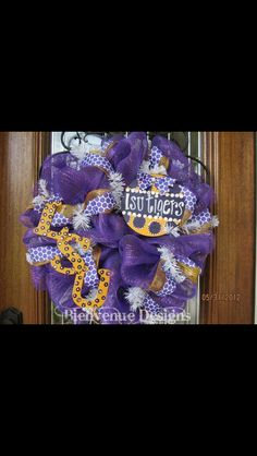 Deco Mesh LSU Tigers College Wreath by lesleepesak on Etsy Diy Craft Projects, Diy And Crafts, Craft Ideas, Lsu Tigers, Tigers Live, Deco Mesh Crafts, Football Crafts, Hallway Decorating, Decorating Ideas