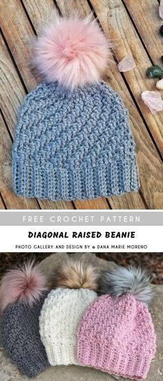 crochet stitches patterns Diagonal Raised Crochet Beanie with Free Pattern Free Form Crochet, Crochet Adult Hat, Bonnet Crochet, Crochet Baby Beanie, Crochet For Kids, Beanie Pattern Free, Crochet Beanie Pattern, Knit Crochet, Bobby Pins
