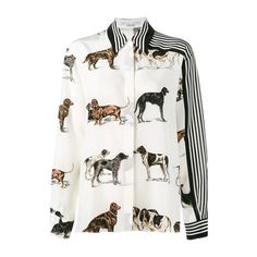 STELLA MC CARTNEY Dog and Stripe Print Shirt (253.910 HUF) ❤ liked on Polyvore featuring tops, shirts, blouses, multi, dog print shirt, striped top, white striped shirt, white top and white shirt