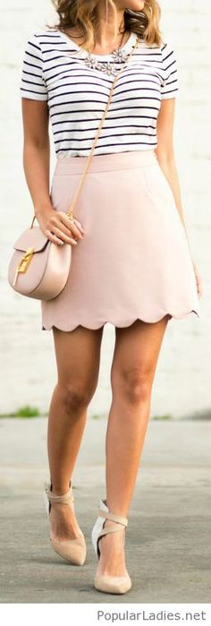 Nude skirt and a simple tee