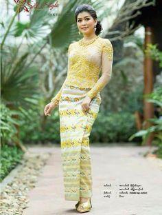 Myanmar dress Myanmar Traditional Dress, Traditional Dresses, Evening Dresses, Long Dresses, Formal Dresses, Myanmar Women, Gold Sequin Dress, Lace Outfit, African Dress