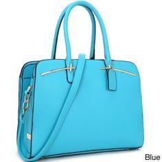 Dasein Faux Double Magnetic Closure Satchel Handbag