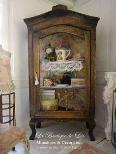 OOAK Victorian Curio Napoleon III, Romantic Black, Furniture for home mniataure scale 1:12th scale