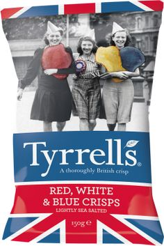 Tyrrells English Crisps — Red, white & blue British Crisps, Vegetable Crisps, Herefordshire, Red White Blue, Chips, Packaging, English, Holidays, Vacations