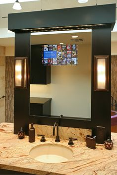 Seura's LED Dual-Coated TV Mirror Glass becomes a mirror when not turned on #SmartHome #BathRoomDecor