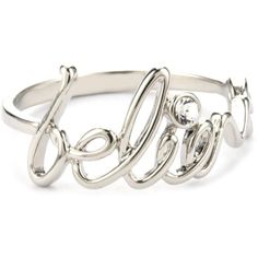 """Disney Couture Inspirational """"Believe"""" Ring, Size 8 ($25) ❤ liked on Polyvore"""