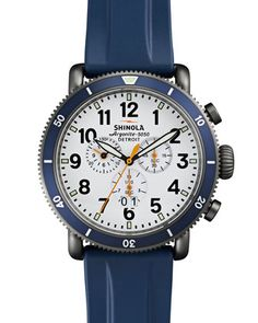 48mm Runwell Sport Chronograph Watch with Rubber Strap, Navy by Shinola at Neiman Marcus.