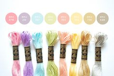 {Light Colors} DMC Floss Color Combination 3716: Very Light Dusty Rose; 210: Medium Lavender; 747: Very Light Sky Blue; 472: Ultra Light Avocado Green; 353: Peach; 744: Pale Yellow; 738: Very Light Tan; 648: Light Beaver Grey