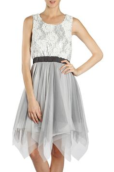 Floral Lace Contrast Dress with Asymmetrical Tulle Hem