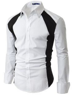 Amazon.com: Doublju Mens Casual 2 Tone Dress Shirts: Clothing