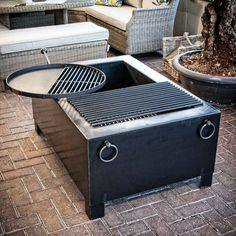 Fire Pit Box with Swing Arm Grill