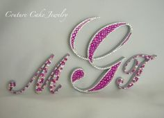 Pretty in Pink Triple Monogram Cake Topper! #couturecakejewelry #swarovski