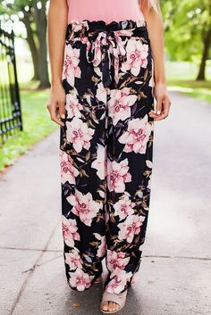 Chic Black Pink Floral Satin Wide Leg Pants