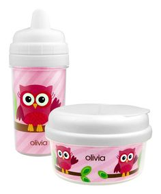 Pink Owl Be Yours Personalized Snack Bowl & Sippy Cup Set by Spark & Spark #zulily #zulilyfinds