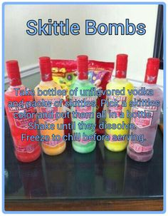 Skittle bombs - I'm thinking have the group request a flavor ahead of time and… Party Drinks, Fun Drinks, Cocktails, Birthday Drinks, Refreshing Drinks, Cocktail Drinks, Birthday Ideas, Skittle Bombs, Skittle Vodka