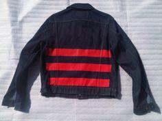 painted stripe denim jacket | helmut lang, 1996    OH RAF!