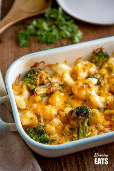 Creamy Cheesy Vegetable Bake - a simple and delicious vegetable side dish that's is so good you may want to eat it as your main. Gluten free, vegetarian, Slimming World and Weight Watcher friendly Veg Dishes, Salmon Dishes, Vegetable Side Dishes, Vegetable Bake, Beef Recipes, Vegetarian Recipes, Cooking Recipes, Healthy Recipes, Diabetic Recipes