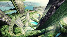 'Vertical City' is much more than the contemporary skyscraper; re-interpreted as futuristic development that combines sustainability with population density and can be designated as a confluence of 'zero-energy city-buildings. Green Architecture, Futuristic Architecture, Landscape Architecture, Vertical City, Vertical Farming, Vertical Forest, Sustainable City, Sustainable Design, Future City