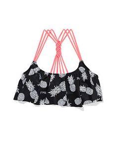 Love the pineapples! Knotted-Back Flounce Crop Top - Victoria's Secret Cute Bikinis, Summer Bikinis, Cute Bathing Suits, Bikini Fashion, Bikini Tops, Flounce Bikini Top, Pineapple Bikini, Victoria Secret Swim, Swimsuits