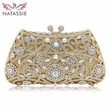 #Fashion Trend Luxury Flower Rhinestone Evening Bag Mini Women Wedding Party Clutch Purses Gold Silver